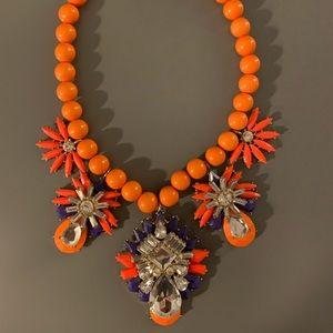 J Crew collar necklace orange and blue